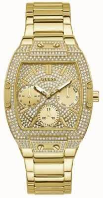 Guess Raven | Women's Gold Plated Steel Bracelet | Gold Crystal Set Dial GW0104L2