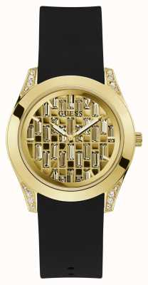 Guess Clarity | Women's Black Silicone Strap | Gold Dial GW0109L1