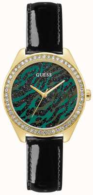 Guess Ziggy | Women's Black Leather Strap | Green Animal Print Dial GW0110L1