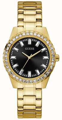 Guess Sparkler | Women's Gold Plated Bracelet | Black Sunray Dial GW0111L2