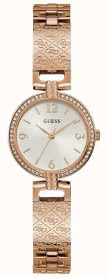 Guess Mini Luxe | Women's Rose Gold Bracelet | White Sunray Dial GW0112L3