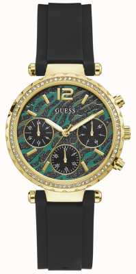 Guess Solstice | Women's Black Silicone Strap | Green Animal Print Dial GW0113L1