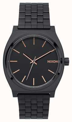 Nixon Time Teller | All Black / Rose Gold | Black IP Bracelet | Black Dial A045-957-00