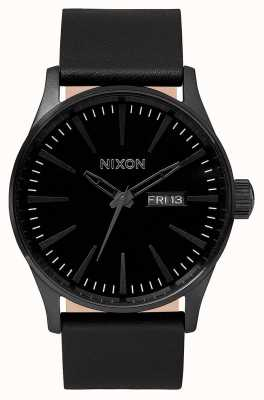 Nixon Sentry Leather | All Black | Black Leather Strap | Black Dial A105-001-00