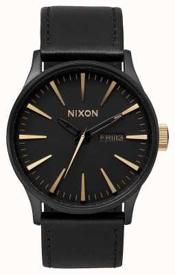 Nixon Sentry Leather | Matte Black / Gold | Black Leather Strap | Black Dial A105-1041-00