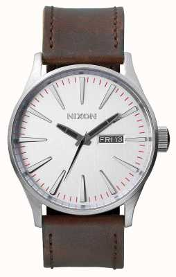 Nixon Sentry Leather  | Silver / Brown | Brown Leather Strap | Silver Dial A105-1113-00