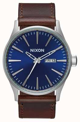 Nixon Sentry Leather  | Blue / Brown | Brown Leather Strap | Blue Dial A105-1524-00