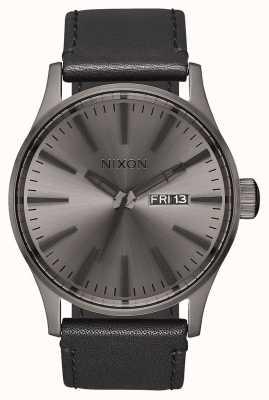 Nixon Sentry Leather | Gunmetal / Black | Black Leather Strap | Gunmetal Dial A105-1531-00