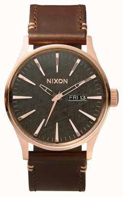 Nixon Sentry Leather | Rose Gold / Gunmetal / Brown | Brown leather Strap | A105-2001-00