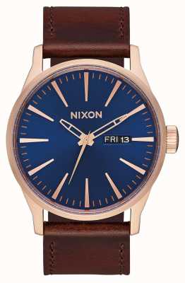 Nixon Sentry Leather | Rose Gold / Navy / Brown | Brown Leather Strap | Navy Dial A105-2867-00
