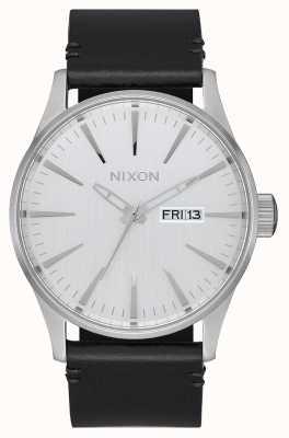 Nixon Sentry Leather | All Silver / Black | Black Leather Strap | Silver Dial A105-2871-00