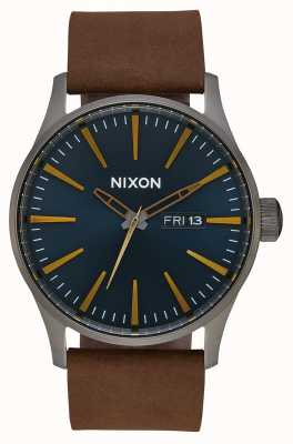 Nixon Sentry Leather | Gunmetal / Indigo / Brown | Brown Leather Strap | Indigo Dial A105-2984-00