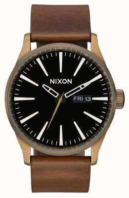 Nixon Sentry Leather | Brass / Black / Brown | Brown Leather Strap | Black Dial A105-3053-00