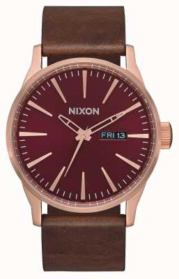 Nixon Sentry Leather | Rose Gold / Burgundy / Brown | Brown Leather Strap | A105-3211-00