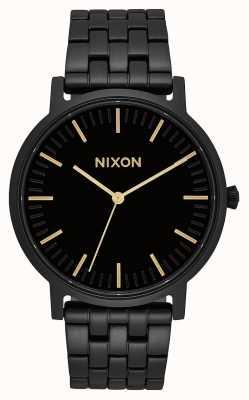 Nixon Porter | All Black / Gold | Black IP Steel Bracelet | Black Dial A1057-1031-00