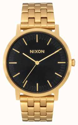 Nixon Porter | All Gold / Black Sunray | Gold IP Steel Bracelet | Black Dial A1057-2042-00