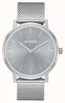 Nixon Porter | All Silver / Lum | Stainless Steel Mesh | Grey Dial A1057-3316-00