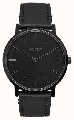 Nixon Porter Leather | All Black | Black Leather Strap | Black Dial A1058-001-00