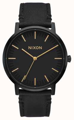 Nixon Porter Leather | All Black / Gold |Black Leather Strap | Black Dial A1058-1031-00