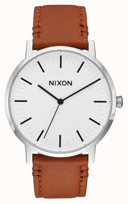 Nixon Porter Leather | White Sunray / Saddle | Brown Leather Strap | White Dial A1058-2442-00