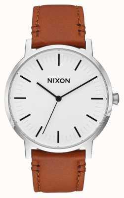 Nixon Porter Leather | White Sunray / Saddle | Brown Leather Strap | White Dial A1058-2442-00