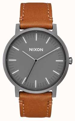 Nixon Porter Leather | Gunmetal / Charcoal / Taupe | Brown Leather Strap | Grey Dial A1058-2494-00