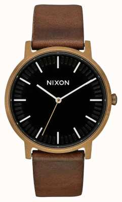 Nixon Porter Leather | Brass / Black / Brown | Brown Leather Strap | Black Dial A1058-3053-00