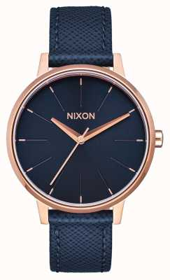Nixon Kensington Leather | Navy / Rose Gold | Blue Leather Strap | Blue Dial A108-2195-00