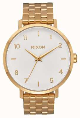 Nixon Arrow | All Gold / White | Gold IP Steel Bracelet | White Dial A1090-504-00