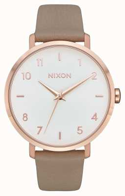 Nixon Arrow Leather | Rose Gold / Grey | Grey Leather Strap | White Dial A1091-2239-00