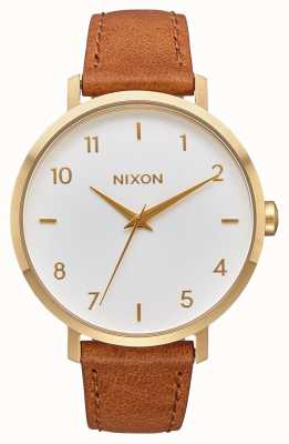 Nixon Arrow Leather | Gold / White / Saddle | Brown Leather Strap | White Dial A1091-2621-00