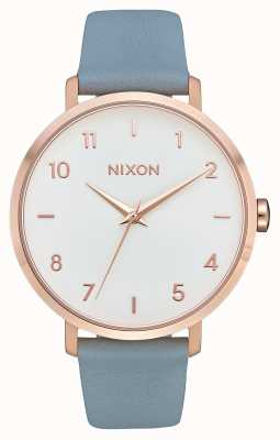 Nixon Arrow Leather | Rose Gold / Blue | Blue Leather Strap | White Dial A1091-2704-00