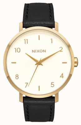 Nixon Arrow Leather | Gold / Cream / Black | Black Leather Strap | Cream Dial A1091-2769-00