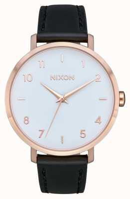 Nixon Arrow Leather | Rose Gold / White / Black | Black Leather Strap | White Dial A1091-3026-00