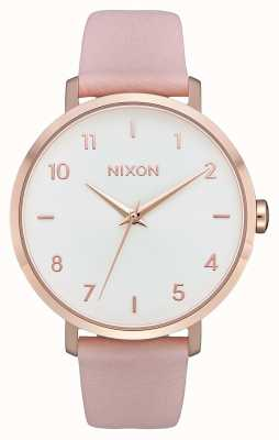Nixon Arrow Leather | Rose Gold / Light Pink | Pink Leather Strap | White Dial A1091-3027-00