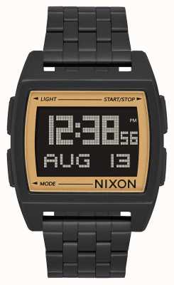 Nixon Base | All Black / Gold | Digital | Black IP Steel Bracelet A1107-1031-00