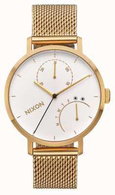 Nixon Clutch | All Gold / White | Gold IP Mesh Bracelet | White Dial A1166-504-00