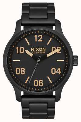 Nixon Patrol | Matte Black / Gold | Black IP Steel Bracelet | Black Dial A1242-1041-00