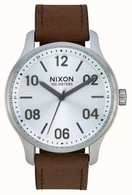 Nixon Patrol Leather | Silver / Brown | Brown Leather Strap | Silver Dial A1243-1113-00