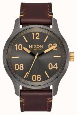 Nixon Patrol Leather | Gunmetal / Gold | Brown Leather Strap | Gunmetal Dial A1243-595-00
