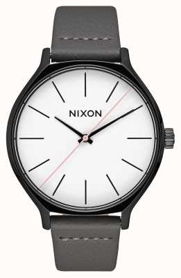 Nixon Clique Leather | Black / Grey | Grey Leather Strap | White Dial A1250-007-00