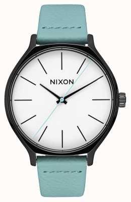 Nixon Clique Leather | Black / Mint | Mint Green Leather Strap | White Dial A1250-3317-00