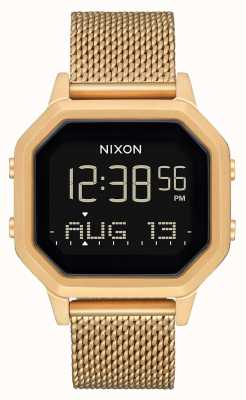 Nixon Siren Milanese | All Gold | Digital | Gold IP Steel Mesh Bracelet A1272-502-00