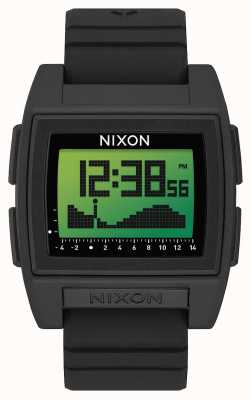 Nixon Base Tide Pro | Black / Green Positive | Digital | Black Silicone Strap A1307-3327-00