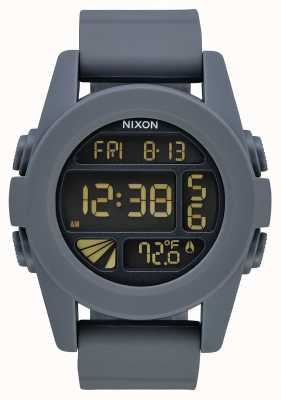 Nixon Unit | Gunmetal / Blue | Digital | Gunmetal Coloured Silicone Strap A197-624-00