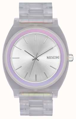 Nixon Time Teller Acetate | Clear/Silver Sunray/Rainbow | Silver Dial A327-3250-00