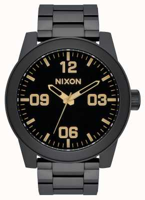 Nixon Corporal SS | Matte Black / Gold | Black IP Steel Bracelet | Black Dial A346-1041-00