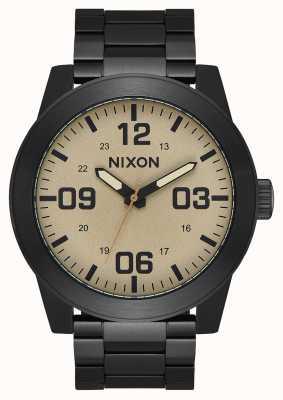 Nixon Corporal SS | Black / Khaki | Black IP Steel Bracelet | Khaki Dial A346-1439-00