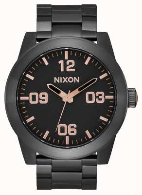 Nixon Corporal SS | All Black / Rose Gold | Black IP Steel Bracelet | Black Dial A346-957-00
