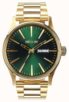Nixon Sentry SS | Gold / Green Sunray | Gold IP Steel Bracelet | Green Dial A356-1919-00